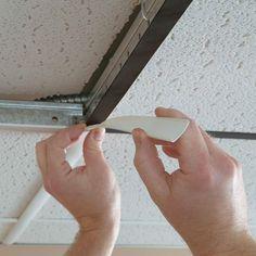 GridMAX Vinyl Ceiling Grid Cover Kit in Brushed Aluminum Drop Ceiling Grid, Drop Ceiling Tiles, Drywall Ceiling, Dropped Ceiling, Ceiling Panels, Ceiling Lights, White Ceiling, Ceiling Ideas, Drop Ceiling Lighting