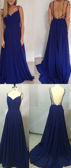 Simple A-line Royal Blue Long Chiffon Prom Dress