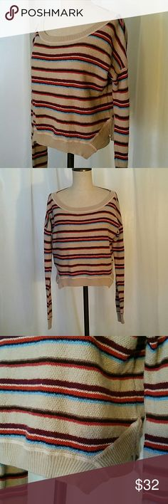 💋FP BEACH Striped Pullover Gorgeous EUC very very gently worn. Bright and beautiful lightweight pullover. Size medium Free People Tops Tees - Long Sleeve