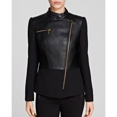 CALVIN KLEIN Black Faux Leather Motorcycle Jacket Coat. Taille 42. Ref: 5073/42