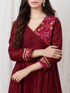 Buy maroon zari chanderi silk angrakha kurta with cotton satin palazzo and yello Neck Designs For Suits, Neckline Designs, Designs For Dresses, Dress Neck Designs, Salwar Designs, Simple Kurti Designs, Kurta Designs Women, Pakistani Dresses Casual, Casual Dresses