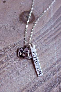 Camera Necklace Hand Stamped Capture Life by SimplySweetStudio