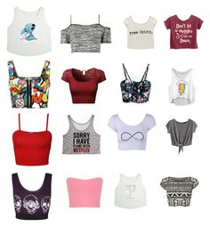 """Twelve Cheap Crop Tops"" by ilovewriting22 ❤ liked on Polyvore featuring WearAll, Boohoo, Wet Seal and Miss Selfridge"
