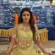 Fashion trends set from Ishqbaaz show with Anika, Gauri, Tia showing high state of fashion outfits dresses in both series. Desi Wedding Dresses, Indian Wedding Outfits, Indian Outfits, Frock Fashion, Fashion Dresses, Indian Designer Outfits, Designer Dresses, Stylish Blouse Design, Lehenga Designs