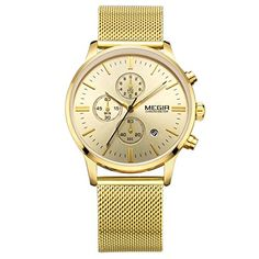 Misskt Chronograph mens quartzwatch stainless steel mesh band gold watches Slim men watches sports Wristwatches *** Check this awesome product by going to the link at the image.Note:It is affiliate link to Amazon.