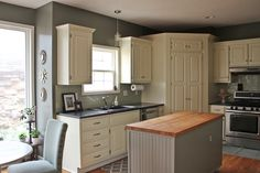 Oh So Lovely: OUR $500 DIY KITCHEN REMODEL...colored concrete countertops