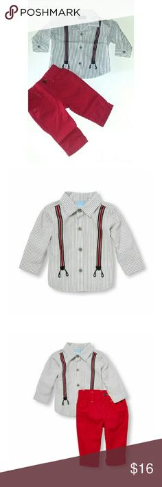 Boys Suspenders Look Outfit Comes with button down shirt and pants. Pants are red with stretchy waist. Shirt is striped with suspenders design on it. Outfit size is 3 to 6 months. Perfect outfit for upcoming holidays.   Boys clothes , boys outfits,  Boys pants , boys shirts , Christmas outfit holiday outfit. Children's Place Matching Sets
