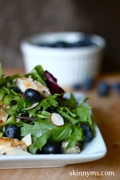 Grilled Chicken Blueberry Salad is topped with a wonderful blueberry dressing to showcase some of the freshest flavors ever! #skinnyms #cleaneating #lunch #recipes