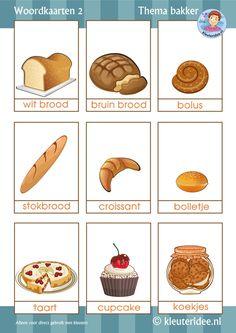 Woordkaarten thema bakker voor kleuters 2, by juf Petra van kleuteridee, free printable