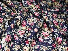 Denim Blue & Multi Vintage Floral Print Stretch Cotton Dress Fabric | Fabric | Dress Fabrics | Minerva Crafts