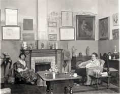 """Alice B. Toklas and Gertrude Stein in their Home. Paris, Photo by Man Ray Ernest Hemingway describes how Alice was Gertrude's """"wife"""" in that Stein rarely addressed his (Hemingway's) wife, and he treated Alice the same, leaving the two """"wives"""" to chat. Man Ray, Renoir, Lee Miller, Grand Palais Paris, La Rive, Foto Art, Art Moderne, Still Image, Metropolitan Museum"""