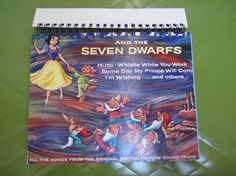 Snow White and the Seven Dwarves Record Cover Upcycled Sketch/Notebook Spiral Bound https://www.etsy.com/listing/151711140/snow-white-and-the-seven-dwarves-record?