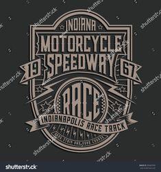 Motorcycle racing typography, tee shirt graphics, vectors, label