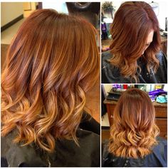 Red hair with balayage ombré #redhead #redhair #redombre #balayage #ombre #red