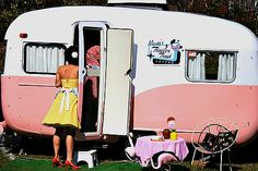 Another girl cave option...Mimsy's Trash Tattoo caravan camper (1950s)