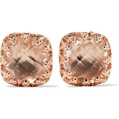 Larkspur & Hawk Jane rose gold-dipped quartz earrings ($470) ❤ liked on Polyvore featuring jewelry, earrings, rose gold, rose gold earrings, 14 karat gold earrings, antique victorian earrings, edwardian earrings and post earrings