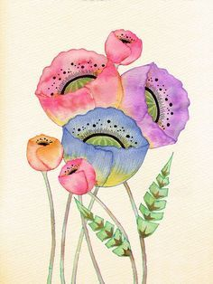 Bellasecretgarden — bellasecretgarden: Poppy Bunch Colleen Parker by. Watercolor Paintings For Beginners, Watercolor Projects, Watercolour Tutorials, Watercolor Poppies, Watercolor And Ink, Illustration Blume, Watercolor Illustration, Art Floral, Poppy Drawing