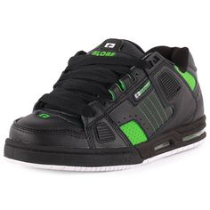 a0e6d3d4b1 Globe Sabre Mens Leather   Suede Black Green Skate Trainers New Shoes All  Sizes Globe Skate