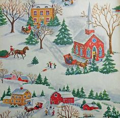 Vintage 1950's Christmas Wrapping Paper, Snowy Christmas Town                                                                                                                                                      More