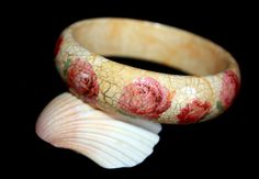 Wooden Decoupage Bracelet, Decoupage Bangle, Bangle, Wooden Bangle, Decoupage Bangle, Rose Bracelet, Wife Gift, Womens Accessories, For Her