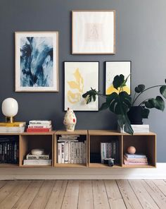 Happy new week! How beautiful is this living room corner by 👈🏻 Menu JWDA Metallic Lamp available in our online store 💫 . Living Room Interior, Home Living Room, Living Room Decor, Living Room Bookcase, Decor Room, Wall Decor, Home Decor, Blue Painted Walls, Room Corner