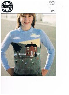 Girls Sweater Pattern - Country Cottge Scene by Sirdar