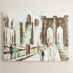 """Antionette Saint Leger finds inspiration in the world around her and stories of people from all walks of life. In """"Brooklyn Crossing,"""" that inspiration takes evocative form in the brightly dressed city dwellers traversing an abstract Brooklyn Bridge."""