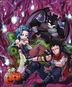 Fairy Tail - Gajell, Levy and Lily panther - Halloween