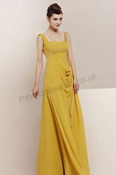 yellow spaghetti strap ruffle chiffon gorgeous prom dress 2013  Pastel Dress #2dayslook #lily25789 #PastelDress  www.2dayslook.com