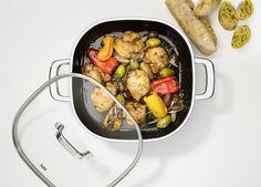 Silit Quadro to większe pojemności naczyń. Naczynia kwadratowe w kuchni to lepsze wykorzystanie miejsca na kuchence. Kung Pao Chicken, Sausage, Meat, Ethnic Recipes, Food, Sausages, Essen, Meals, Yemek