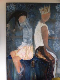 Jijenik olieverfschilderij gemaakt door 2 kunstenaars 120 breed 150 hoog