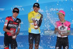 #AmgenTOC SACRAMENTO, CA - MAY 19:  Overall winner Egan Arley Bernal Gomez (C) of Colombia riding for Team Sky in the yellow Amgen Race Leader jersey celebrates alongside second place Tejay van Garderen (L) of The United States and BMC Racing Team and thrid place Daniel Martinez (R) of Colombia riding for Team EF Education First - Drapac P/B Cannondale after stage seven of the 13th Amgen Tour of California, a 143km stage in Sacramento on May 19, 2018 in Sacramento, California.  (Photo by…
