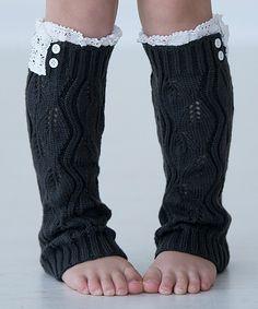 Look at this #zulilyfind! Dark Gray Lil Lilly Leaf Leg Warmers by PeekABootSocks #zulilyfinds