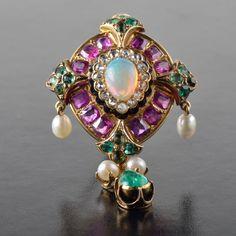 Ruby diamond pearl opal emerald pendant / brooch. 18k yellow gold