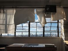 Studio of Jean-Philippe Delhomme.  What a lovely view and a working environment.
