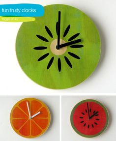 Fruit clocks--pick up the mechanism at your local craft store and cut a circle out of plywood! Paint.