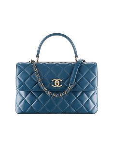 Flap bag with top handle, lambskin & gold-tone metal-blue - CHANEL