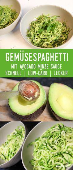 Gemüsespaghetti mit Avocado-Minze-Sauce   schnell   low-carb   lecker   Zoodles