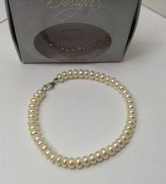 "White Fresh Water Pearl Sterling Silver Clasp Bracelet 7.5"" Nib By Designs 6Mm"