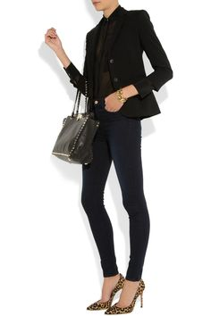 The Row blazer, T by Alexander Wang top, J Brand jeans, Gianvito Rossi shoes, Valentino bag, and Jay Lane cuff