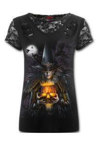 Spiral - Girls Gothic T-Shirt mit Spitze & Schlitzen - Witching Hour