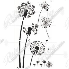 Stencil - Dandelion set - size Cut from durable stencil material. Stencil Material, Bobby Pins, Dandelion, Stencils, Hair Accessories, Flowers, Dandelions, Hair Accessory, Hair Pins