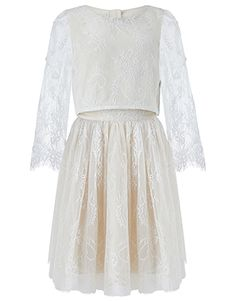 Monsoon | Florentina Lace Top & Skirt Set | Gold | 3 Years