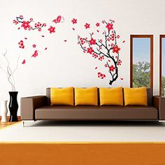 Red Plum Blossom Wall Sticker Removable Art DIY Home Decor. >>> Startling review available here  : home diy wall