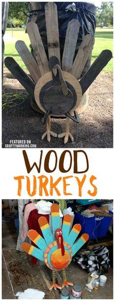Wood pallet turkeys for a Thanksgiving craft/decoration! Wood pallet turkeys for a Thanksgiving craft/decoration! Wooden Projects, Diy Pallet Projects, Wooden Crafts, Pallet Ideas, Pallet Wood, Wood Wood, Wood Pallet Crafts, Pallet Benches, Pallet Couch