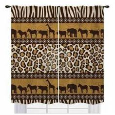African safari print window curtains. Custom sizes for your different shape windows.