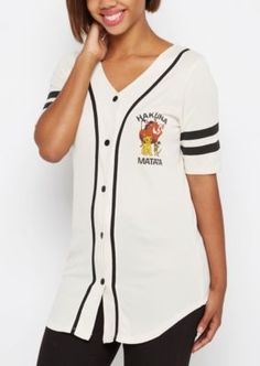 Batter up! Hit a homerun in this adorable baseball jersey! Made with breathable mesh fabric, featuring screen prints of Simba and the gang along the chest and back.