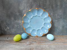Vintage Blue Milk Glass Deviled Egg Plate: Pressed Milk Glass Deviled Egg Plate by Untried on Etsy