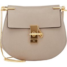 Chloé Drew Small Shoulder Bag ($1,850) ❤ liked on Polyvore featuring bags, handbags, shoulder bags, grey, grey shoulder bag, grey handbags, grey purse, gray purse and flap handbags