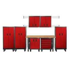 Gladiator Premier Series Pre-Assembled 66 in. H x 162 in. W x 25 in. D Steel Garage Cabinet Set in Racing Red Tread (8-Pieces) GAPK06P5DR at The Home Depot - Mobile